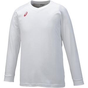 アシックス(asics) プラクティスシャツLS ホワイト×レッド XW6730 0123 バレーボール バレーウェア 半袖 プラシャツ 練習着|esports