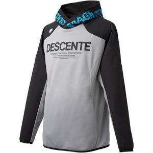 デサント(DESCENTE) メンズ レディース バレーボール ウォームスウェットパーカー グレー杢×ブラック DVUOJF20 GRM 練習着 部活 トップス トレーニングウェア|esports