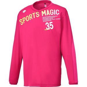 デサント(DESCENTE) 長袖プラクティスシャツ マゼンタ/ホワイト DVB-5753L MZ バレーボール ウェア メンズ・レディース Tシャツ プラシャツ|esports