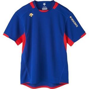 デサント(DESCENTE) 半袖 プラクティスシャツ ROY/ロイヤル×レッド DVB-5721 バレーボール メンズ レディース プラシャツ トレーニングウェア esports