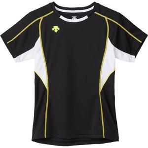 デサント(DESCENTE) 半袖 プラクティスシャツ BWH/ブラック×ホワイト×Yライム DVB-5724W バレーボール メンズ レディース プラシャツ トレーニングウェア|esports