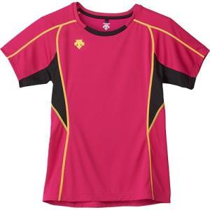 デサント(DESCENTE) 半袖 プラクティスシャツ MZ/マゼンダ×ブラック×Yライム DVB-5724W バレーボール メンズ レディース プラシャツ トレーニングウェア|esports