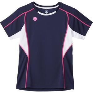 デサント(DESCENTE) 半袖 プラクティスシャツ NVY/ネイビー×ホワイト×Pピンク DVB-5724W バレーボール メンズ レディース プラシャツ トレーニングウェア|esports