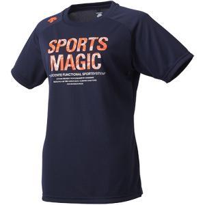 デサント(DESCENTE) 半袖プラクティスシャツ Dネイビー×Fレッド DVWLJA52 DNVY レディース バレーボール Tシャツ プラシャツ スポーツウェア|esports