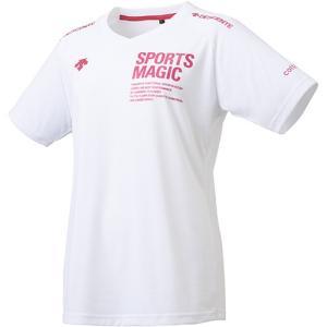 デサント(DESCENTE) 半袖プラクティスシャツ ホワイト×マゼンタ DVWLJA53 WHT レディース バレーボール Tシャツ プラシャツ スポーツウェア|esports