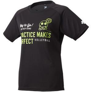 デサント(DESCENTE) バボちゃん 半袖プラクティスシャツ ブラック DVWLJA60 BLK レディース バレーボール プラシャツ スポーツウェア トレーニングウェア|esports