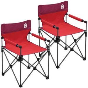 コールマン(Coleman) カップホルダー付きスリムチェア(レッド) 2000010513 計2脚セット! キャンプ アウトドア おしゃれ 椅子 運動会 コンパクト 2人