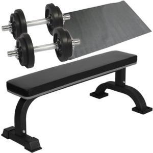 ダンベルトレーニング4点セットB:ブラック10kg 固定式フラットベンチ ラバーダンベル10kg 2個セット 保護マット ウエイトトレーニング ホームジム|esports