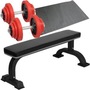 ダンベルトレーニング4点セットB:レッド20kg 固定式フラットベンチ ラバーダンベル20kg 2個セット 保護マット ウエイトトレーニング ホームジム|esports