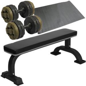 ダンベルトレーニング4点セットB:アーミーグリーン10kg 固定式フラットベンチ ダンベル10kg 2個 保護マット ウエイトトレーニング ホームジム