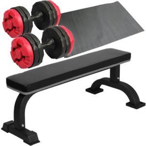 ダンベルトレーニング4点セットB:固定式フラットベンチ アーミーダンベル レッド10kg×2個 保護マット 20kgセット 7kg 5kg ウエイ ベンチプレス 筋トレ ESTR-SET