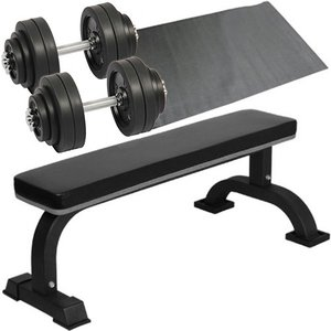 ダンベルトレーニング4点セットB:ブラック30kg 固定式フラットベンチ ラバーダンベル30kg×2個セット 60kg 保護マット セット ウエイトトレーニング ホームジム|esports