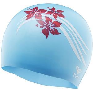 ティア(TYR) フラワーズ シリコン スイムキャップ FLOWERS SILICONE SWIM CAP BL/RD LCSFLRS 水泳帽 トライアスロン|esports