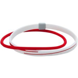 ファイテン(phiten) RAKUWAアンクレットS スラッシュラインラメタイプ ホワイト/レッド 23cm 0416TB014531 ラクワ 足首 スポーツアクセサリー 留め具あり|esports