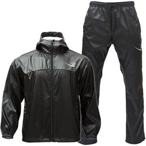 ボディメーカー(BODYMAKER) メンズ サウナスーツアクティブ12 ブラック GM026 BK 上下セット ジャケット ロングパンツ スポーツウェア トレーニングウェア|eSPORTS PayPayモール店