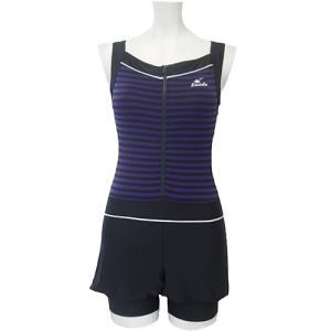 ラシエロ(LACIELO) キュロットスカート付きワンピース水着(ボーダープリント) LAO1503 PPL レディースフィットネス水着 女性用 esports