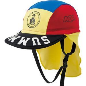 エーキューエー(AQA) フラップキャップ キッズ KW4468A レッド/イエロー 子供用 スイムキャップ 水泳帽|esports