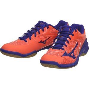 ミズノ(MIZUNO) メンズ レディース バドミントンシューズ ウエーブファング SS2 オレンジ×ブルー 71GA1710 55 バドミントン シューズ 靴 部活 スポーツ