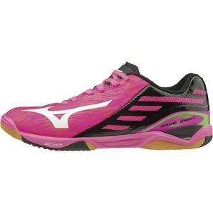 ミズノ(MIZUNO) メンズ レディース 卓球シューズ ウエーブドライブ Z ピンク×ホワイト×ブラック 81GA1600 60 部活 練習 試合 靴