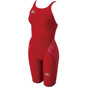 ミズノ(MIZUNO) レディース GXハーフスーツ レッド N2MG620162 女性用競泳水着 レディース 競技用|esports