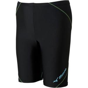 ミズノ(MIZUNO) BGアクア メンズスイムハーフパンツ ブラック×ライトブルー N2JB612392 メンズフィットネス水着 男性用 水中ウォーキング コンプレッション|esports