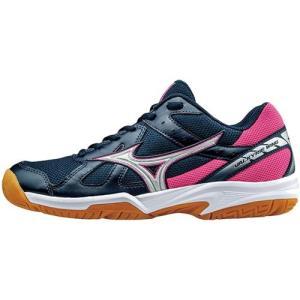 ミズノ(MIZUNO) ワルキューレウィング ネイビー×シルバー×ピンク V1GC178003 バレーボール シューズ トレーニング レディース|esports