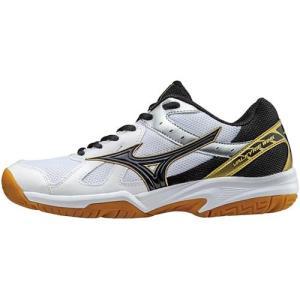 ミズノ(MIZUNO) ワルキューレウィング ホワイト×ブラック×ゴールド V1GC178009 バレーボール シューズ トレーニング レディース|esports