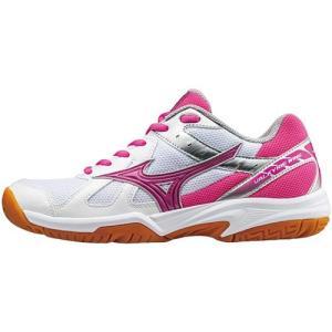 ミズノ(MIZUNO) ワルキューレウィング ホワイト×ピンク×シルバー V1GC178064 バレーボール シューズ トレーニング レディース|esports