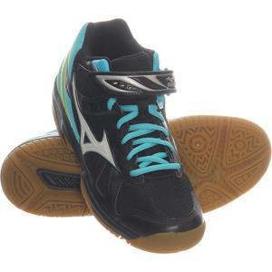 ミズノ(MIZUNO) ワルキューレウィング MID ブラック×ホワイト×ライトブルー V1GC178501 バレーボール シューズ トレーニング レディース|esports