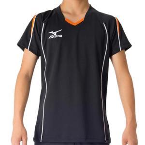 ミズノ(MIZUNO) プラクティスシャツ Jr. ブラック×フレイムオレンジ V2MA608794 バレーボール トレーニングウェア ジュニア プラシャツ|esports