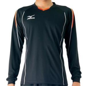 ミズノ(MIZUNO) プラクティスシャツ ブラック×フレイムオレンジ V2MA609794 バレーボール トレーニングウェア プラシャツ 長袖|esports