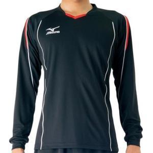 ミズノ(MIZUNO) プラクティスシャツ ブラック×レッド V2MA609796 バレーボール トレーニングウェア プラシャツ 長袖|esports