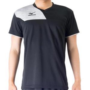ミズノ(MIZUNO) プラクティスシャツ ブラック×ベイパーシルバー V2MA708299 バレーボール トレーニングウェア プラシャツ|esports