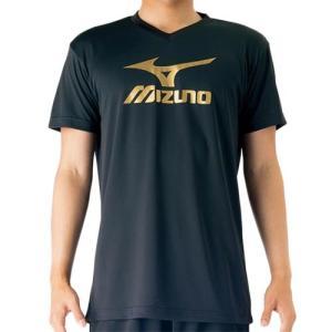 ミズノ(MIZUNO) プラクティスシャツ ブラック×ゴールド V2MA708795 バレーボール トレーニングウェア プラシャツ|esports