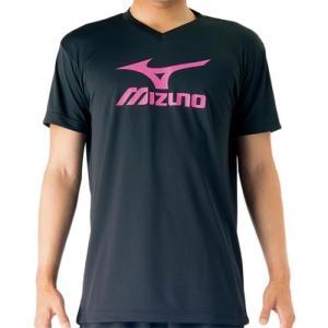 ミズノ(MIZUNO) プラクティスシャツ ブラック×ベリーピンク V2MA708797 バレーボール トレーニングウェア プラシャツ|esports