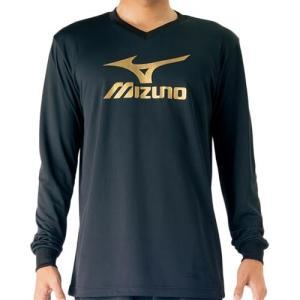 ミズノ(MIZUNO) プラクティスシャツ Jr. ブラック×ベイパーシルバー V2MA709795 バレーボール トレーニングウェア ジュニア プラシャツ 長袖|esports