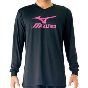 ミズノ(MIZUNO) プラクティスシャツ ブラック×ルミナスピンク V2MA709797 バレーボール トレーニングウェア プラシャツ 長袖|esports