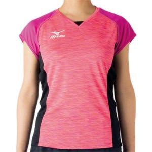 ミズノ(MIZUNO) プラクティスシャツ ルミナスピンク×ブラック V2MA728164 バレーボール トレーニングウェア プラシャツ|esports