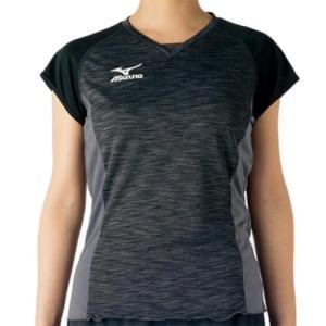 ミズノ(MIZUNO) プラクティスシャツ ブラック×ダークガルグレー V2MA728190 バレーボール トレーニングウェア プラシャツ|esports
