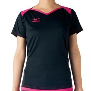 ミズノ(MIZUNO) プラクティスシャツ ブラック×ベリーピンク V2MA728397 バレーボール トレーニングウェア プラシャツ|esports