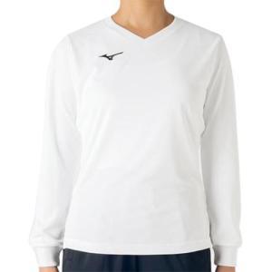 ミズノ(MIZUNO) プラクティスシャツ長袖 ホワイト V2MA729401 バレーボール トレーニングウェア プラシャツ|esports