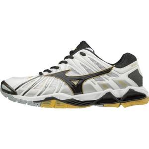 ミズノ(MIZUNO) ウエーブトルネード X2 09/ホワイト×ブラック×ゴールド V1GA181209 バレーボール シューズ メンズ レディース|esports