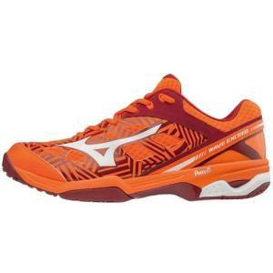 ミズノ(MIZUNO) メンズ レディース テニスシューズウエーブエクシード OC オレンジ×ホワイト×ワイン 61GB171354 オムニコート用 テニス シューズ 靴 esports