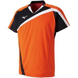 ミズノ(MIZUNO) メンズ バドミントン 半袖 ゲームシャツ フレイムオレンジ 72MA800553 トレーニングウェア|esports