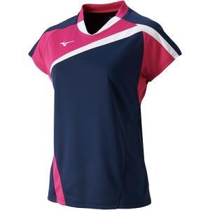 ミズノ(MIZUNO) レディース バドミントン 半袖 ゲームシャツ ドレスネイビー 72MA820514 バドミントンウェア Tシャツ 練習着 ウィメンズ|esports