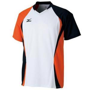ミズノ(MIZUNO) ゲームシャツ 72MA500501 ホワイト×フレイムオレンジ バドミントン トレーニングウェア メンズ 半袖|esports