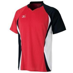 ミズノ(MIZUNO) ゲームシャツ 72MA500562 チャイニーズレッド×ブラック バドミントン トレーニングウェア メンズ 半袖|esports