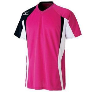 ミズノ(MIZUNO) ゲームシャツ 72MA500664 ベリーピンク×ブラック バドミントン トレーニングウェア メンズ 半袖|esports