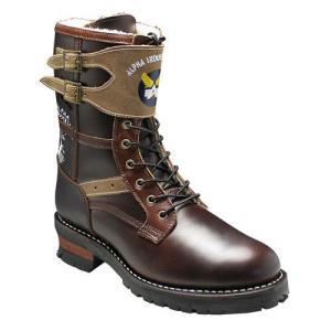 アルファ/ブーツ サイドジップアップ/BOMBER7 SP40 ダークブラウン/10アイレット/メンズ 靴|essendo