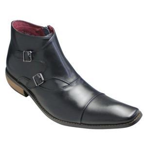 バンプ アンド グラインド/ダブルモンクブーツ(牛革)/BG2804(ブラック)/ロングノーズ/脚長/メンズ 靴|essendo